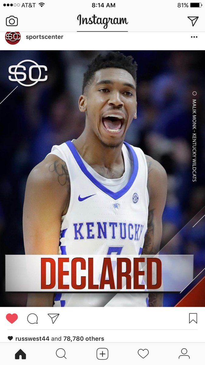 """""""Russell Westbrook seen liking a picture of Malik Monk declaring for the NBA Draft 🤔 #Thunder #ThunderUp #BBN #WhyNot"""""""