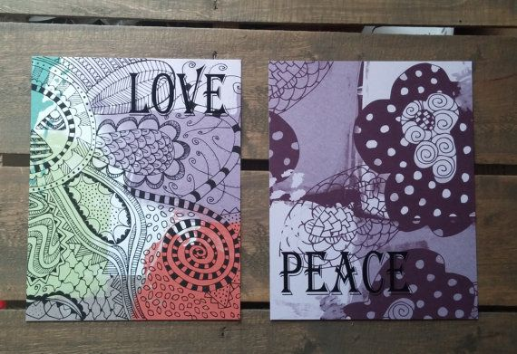 Abstract Peace and Love Prints Wall Art