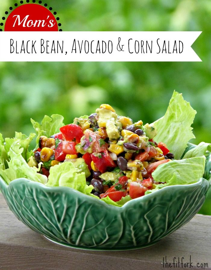Black Bean, Corn & Avocado Salad - roasting the corn add so much flavor to this healthy recipe. Use as a side dish, topping for salads or relish for tacos. | thefitfork.com