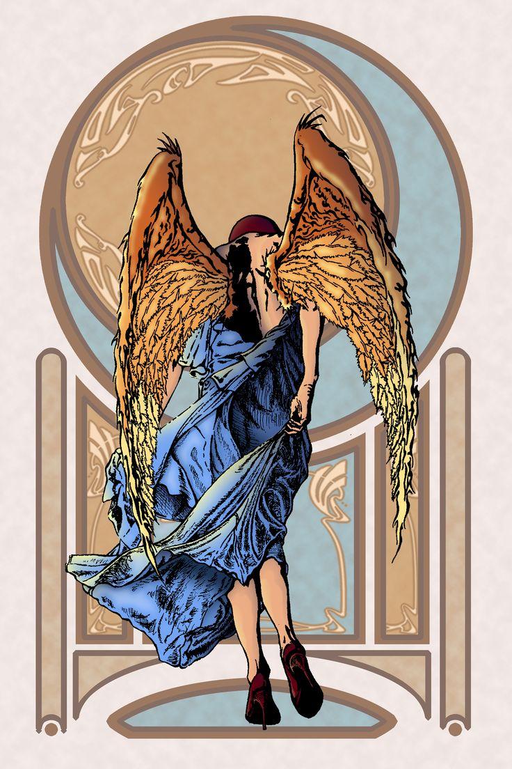Inked Illustration w/ photo shop color and Art Nouveau background By Jess M. Drake