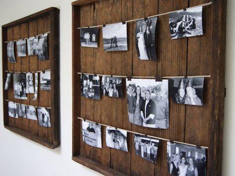 Decoração com quadros de fotos em varais.                                                                                                                                                                                 Mais