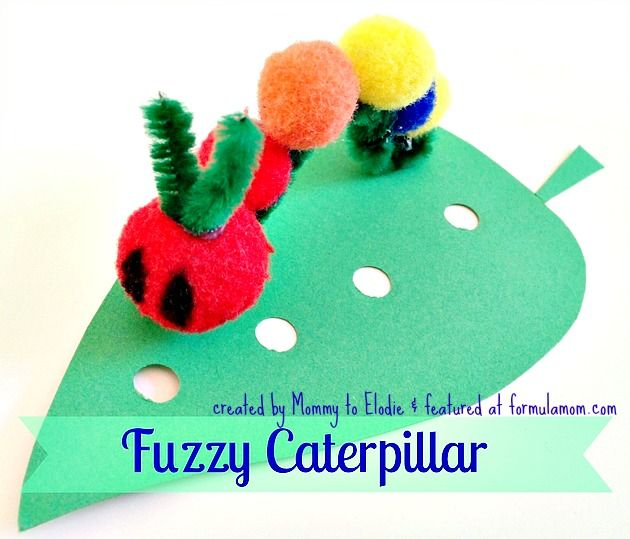Very Hungry Caterpillar Crafts: Fuzzy Caterpillar | http://formulamom.com/very-hungry-caterpillar-crafts-fuzzy-caterpillar/