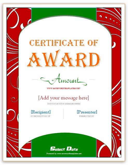 Award Gift Certificate Templates