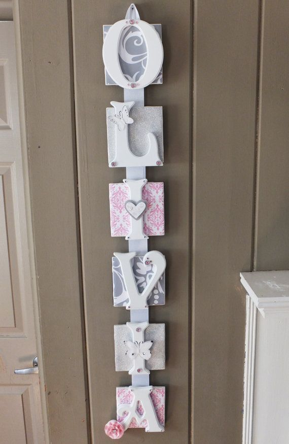 Best 25 wooden name plaques ideas on pinterest diy house name name plaque 6 letter pink and gray baby name wall hanging personalized baby gift name art baby name sign personalized door sign negle Images