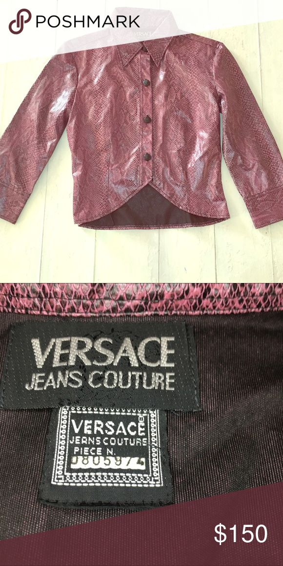 """Versace leather """"Snakeskin,"""" crop jacket This is a retro Versace top. I'll model it later. It's so cool. It was custom altered by the Versace salon. Figure flattering. Definitely a statement piece... as most Versace items are!!! Versace Jackets & Coats"""