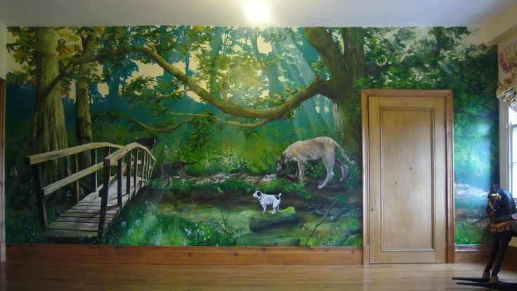 Uncategorized , Giving Attractive and Artistic Touch to Your Home Interior by Applying 3D Arts for All Types of Rooms – Bedroom, Dining Room and Living Room : Large Bedroom With Forest Themed Wall Mural With 3 D Effect : Great Ideas For Bringing Nature Wild Scenery Into Your Bedroom