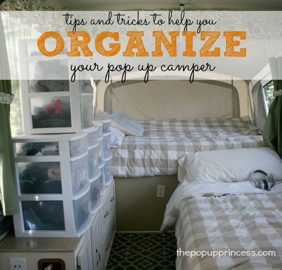 How We Organize Our Pop Up Camper -  Keeping our camper stocked and organized makes preparing for a road trip a breeze.  See how we make the most of our camper's storage spaces.