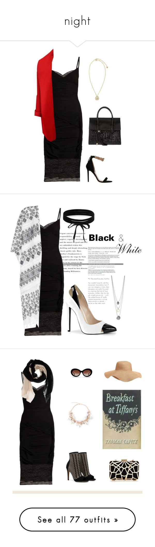 """""""night"""" by kittystar69 ❤ liked on Polyvore featuring Versace, Velvet, Boohoo, white, black, dress, fancy, AbbiAlister, DESTIN and Old Navy"""