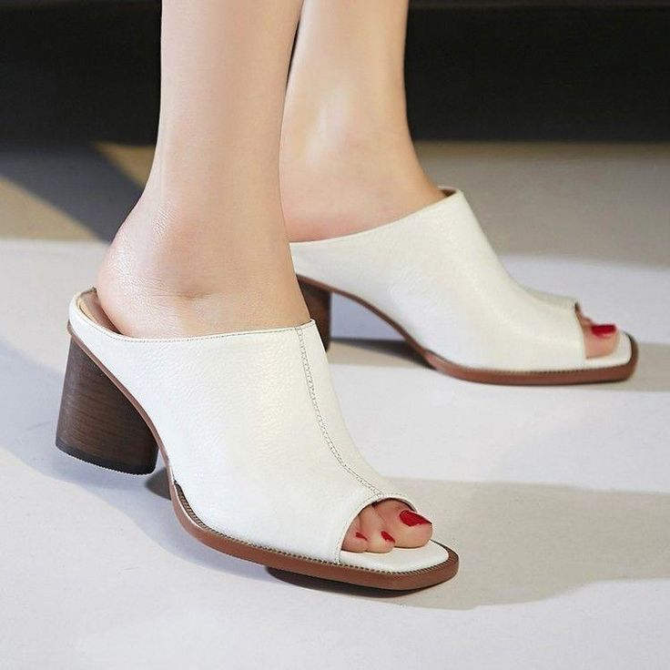 Chic Pu Leather Women's Open Toe Mid Block Heels Summer Slippers Shoes Us Size