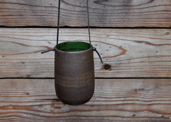 Modern Simple Dark Brown Hanging Planter by PUTIKMADE on Etsy, $45.00Studios Ceramics, Cement Planters, Hanging Potterycombo, Ceramics Hanging, Brown Hanging, Hanging Pottery Combos, Ceramics Stuff, Things Ceramics, Hanging Planters