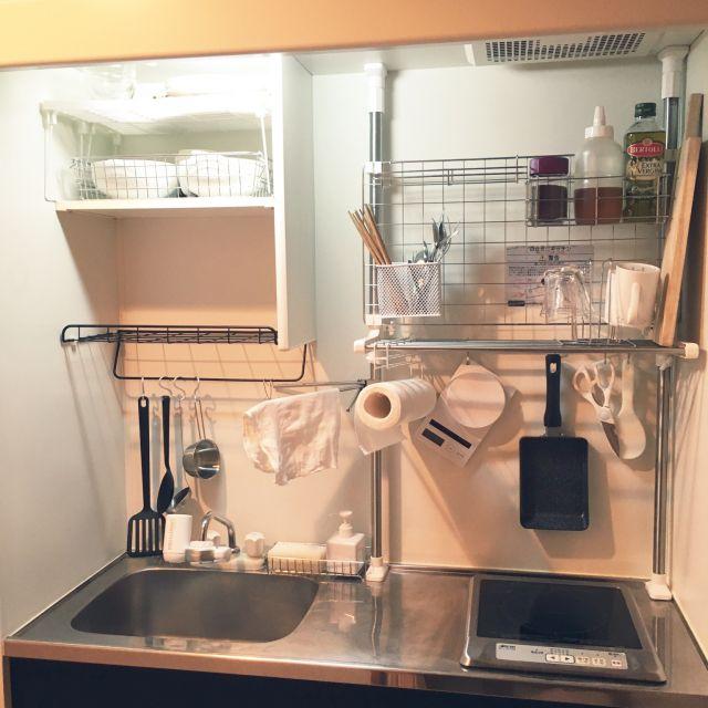 キッチン 1k シンプル 無印良品 ナチュラル などのインテリア実例