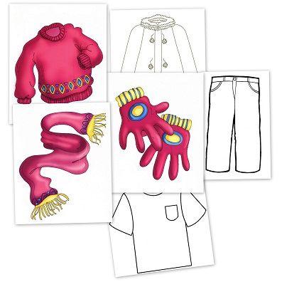 Bits de prendas de vestir, para enseñar y colorear Para enseñar Para colorear  Los bits de inteligencia o Tarjetas de información visual son unidades