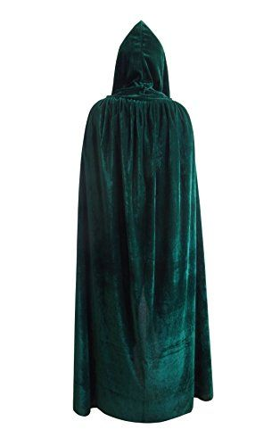 "Halloween Christmas Cosplay Costume Death Hoody Cloak Role Play Devil Hooded Party Cape for Men Women (62"" Green)"