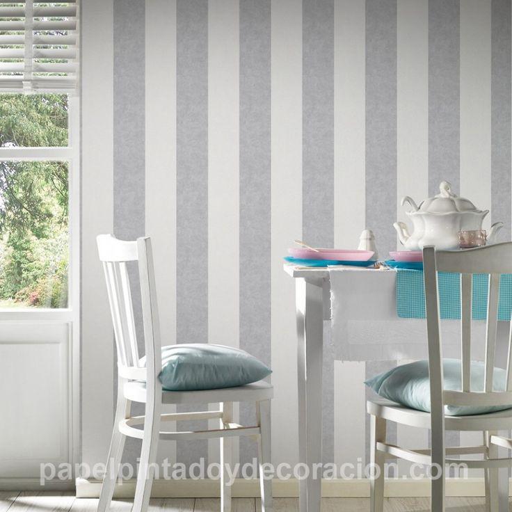 Papel pintado raya ancha 13cm con relieve blanco y gris claro textura rugosa PDA8329902