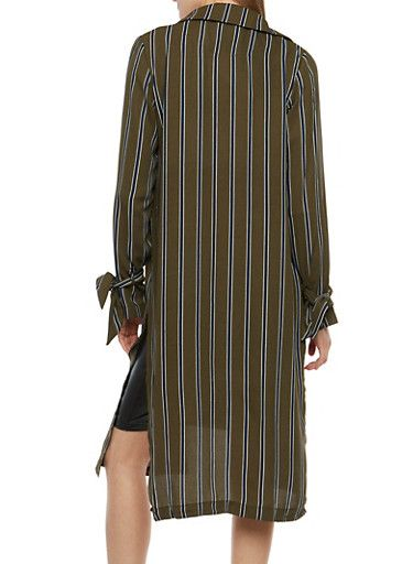Striped Tie Sleeve Duster,OLIVE NAVY