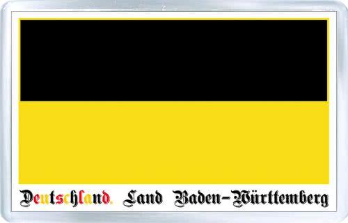 Acrylic Fridge Magnet: Germany. Flag of Baden-Wurttemberg (Land Baden-Wurttemberg)