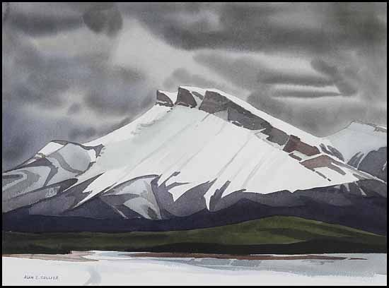 Alan Caswell Collier OSA RCA 1911 - 1990 Canadian 'South-east Across Abraham Lake' watercolour on paper circa 1978 12 x 16 in 30.5 x 40.6 cm // looks like the back of a dinosaur - wonderful watercolour