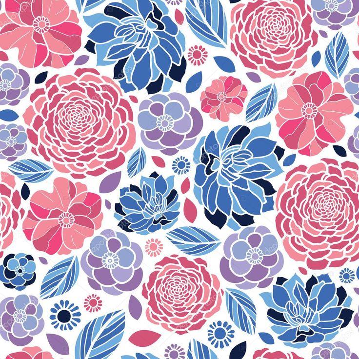 Вектор абстрактный Мозаика Цветы элегантный Бесшовные фон с рукой обращается линии искусства цветочных элементов