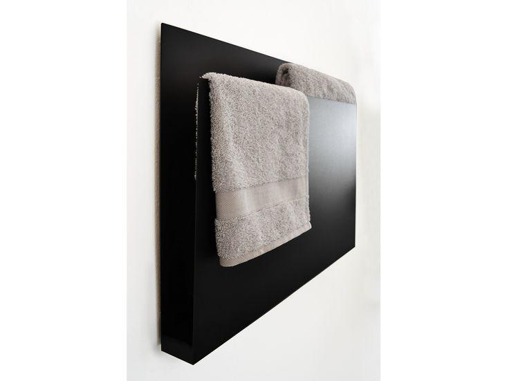 Wall-mounted electric aluminium towel warmer MAGAZINE BLACK by mg12 design Monica Freitas Geronimi