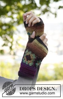 """Magic Gloves - Crochet DROPS wrist warmers with squares in """"Delight"""". - Free pattern by DROPS Design"""