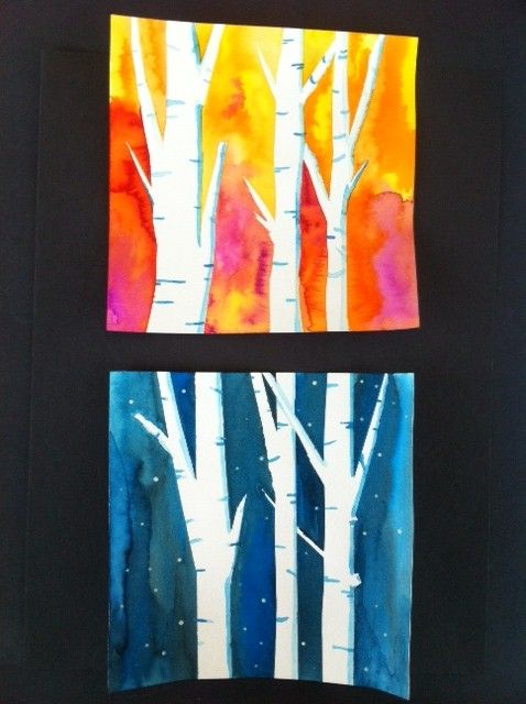 Project for second grade class: warm/cool colors, birch trees