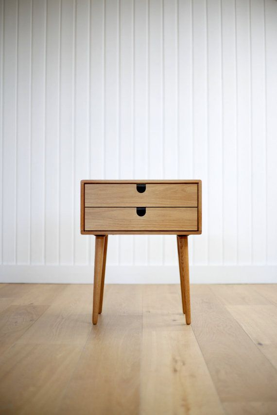 Habitables: Mid-Century Scandinavian Side Table / Nightstand - One or two drawers and retro legs made of solid oak