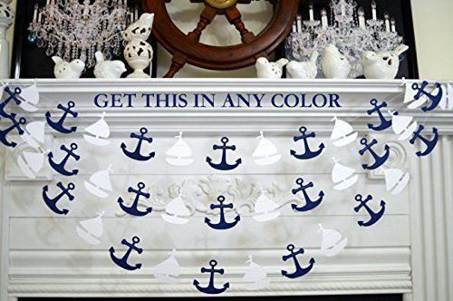 Sailboat and anchor garland, nautical banner garland decor, nautical birthday, white sailboats navy anchors baby shower decor