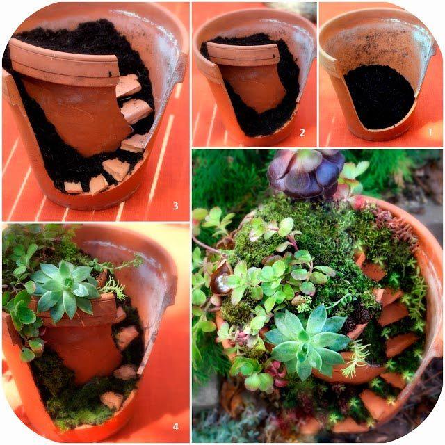 Ikke kast ødelagte blomsterpotter - lag heller en minihage av dem!