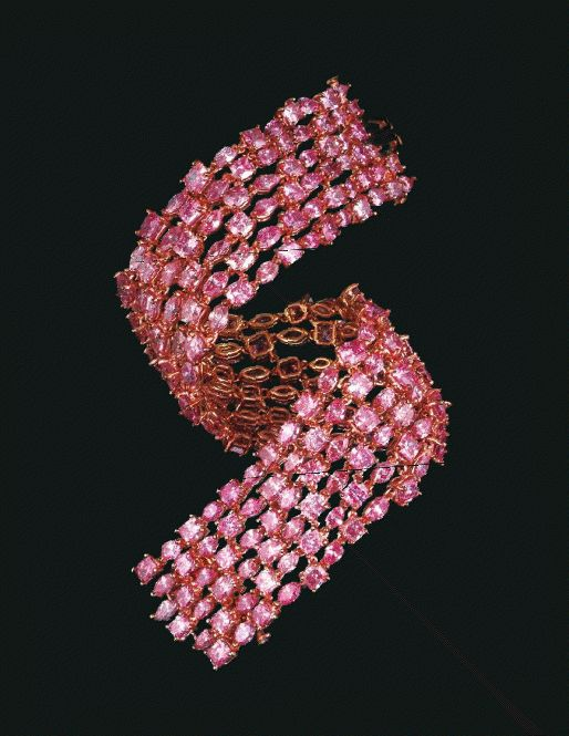 The Majestic Pink Diamond Bracelet-204 Fancy Intense/Vivid Pink - Fancy Red-Argyle Mine Western Australia - Alain Tuong                                                                                                                                                                                 More