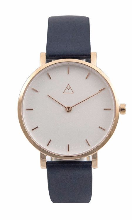 The Debut White / Rose Gold / Navy Leather by Medium.