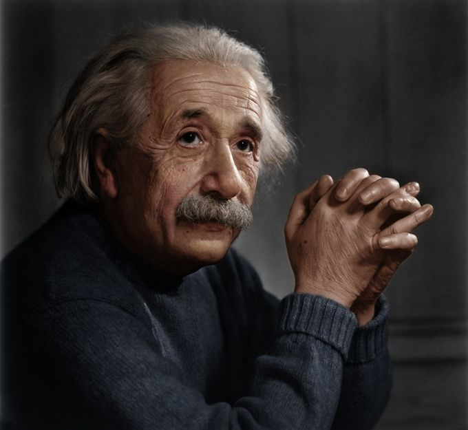 Albert Einstein, photo by by Yousuf Karsh, retouched by Mads Madsen