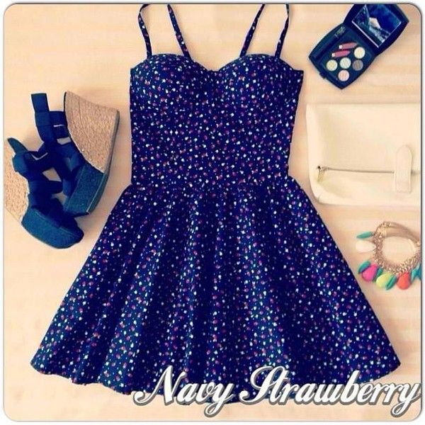 Navy strawberry bustier dress ($24) ❤ liked on Polyvore