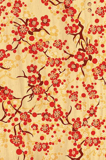 Japanese blossom art vector illustration by Lara Allport