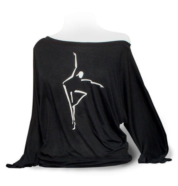 """Dolman Long Sleeve Dance Top """"Abstract Dancer"""" - Black. Dance top for women or girls to wear for class or rehearsal. by designer4dance"""