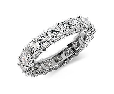 Cushion-Cut Diamond Eternity Ring in Platinum (4 ct. tw.)  PRICE:Starting at $10,000    ING INFORMATION Stock number:24005 Metal: 950 Platinum Width: 3.5mm   DIAMOND INFORMATION Ring Size:Number of Diamonds:Total Carat Weight: 4183.76 4.5183.77 5.5193.82 6194.02 6.5204.01 7204.01 Average color:G Average clarity:VS2 Setting type: Common prong setting