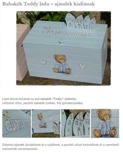 Babakék Teddy maci láda - névre szóló ajándék babalátogatóba. Nézd meg, katt aza lábbi linkre >> http://eradekor.hu/keresztelo-ajandek/babakek-teddy-lada-ajandek-kisfiunak/