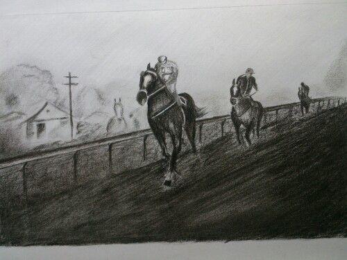 Jockeys on the track...fire