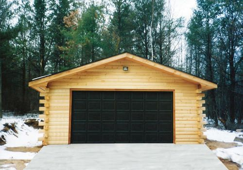 24 39 x 24 39 x 8 39 2 car garage with log siding at menards for Garage roofing options
