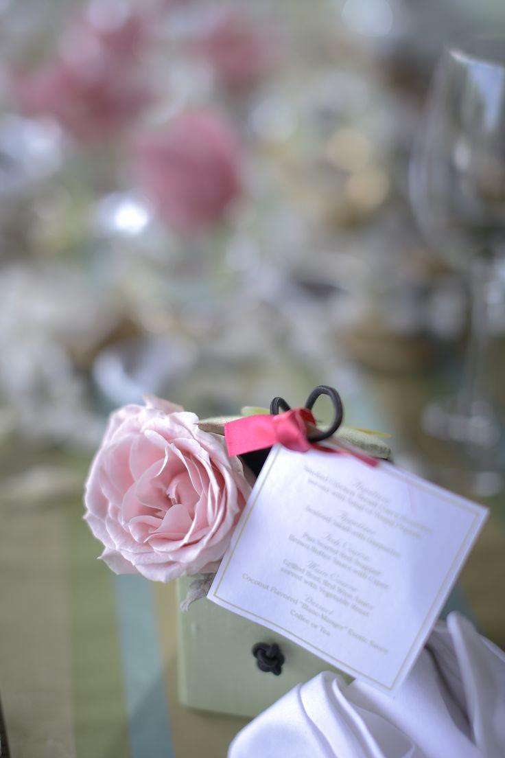 Individual menu card & flower in silk-made box by Tirtha Bridal Uluwatu Bali