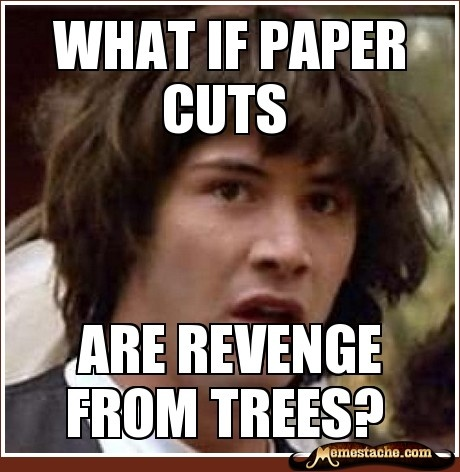 Look what I just found @Bec Bell!!! Oh my gosh!!! For the record, mine was WAAAAAYYY better!!: Paper Cut, Meme Olicious, Meme Funnies, Awesome Quotes, Truth, Thought, Keanu Memes, Funny Memes, What If Meme