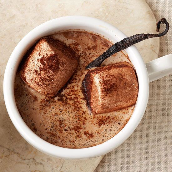 Mexican Marshmallow Cocoa ~~ Make like the Mayans and add chili powder to your hot chocolate for a truly delicious treat. Cocoa-covered marshmallows and a vanilla bean take this drink over the top.