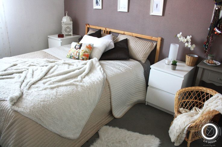 Chambre taupe et blanc mati res naturelles brutes osier bois chambre cosy cocooning for Chambre cocooning blanche