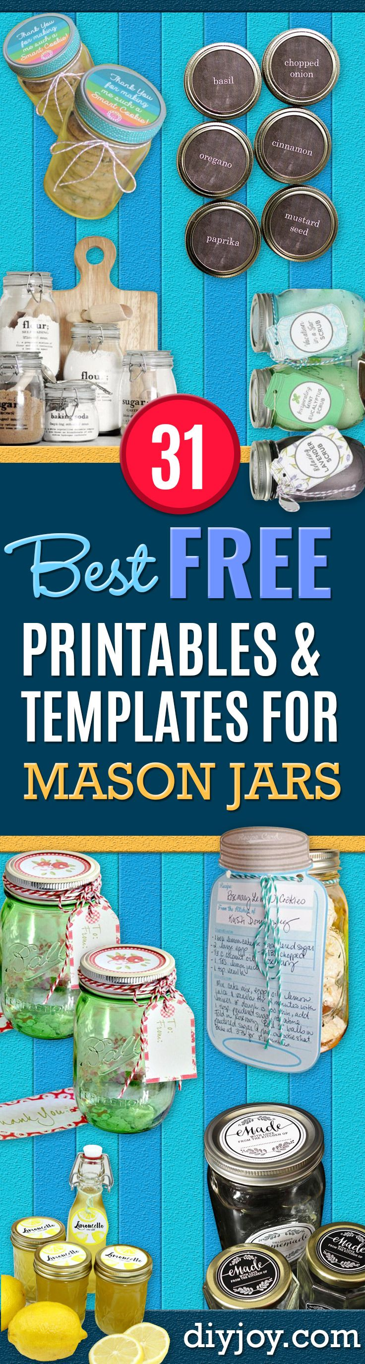 Free Printables for Mason Jars - Best Ideas for Tags and Printable Clip Art for Fun Mason Jar Gifts and Organization - Sugar scrub, Teacher Gifts, Valentines, Cookie Mixes, Party Favors, Wedding Holidays and Fun Recipes - DIY Mason Jar Gifts and Home Decor Crafts by DIY JOY http://diyjoy.com/free-printables-mason-jars