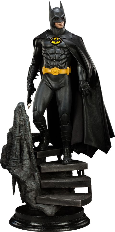 """Batman Premium Format™ Figure (Michael Keaton 1989  Film Version) - His right hand can be switched out to one holding a Grapple Gun. (26"""" tall, $400)"""