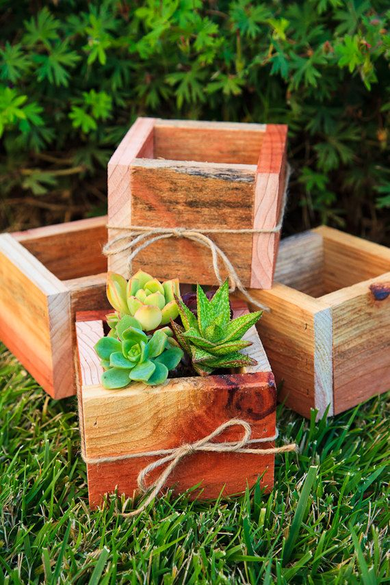 "Set of 4 -- 5x5"" Succulent Planter Box - Redwood. $36.00, via Etsy."