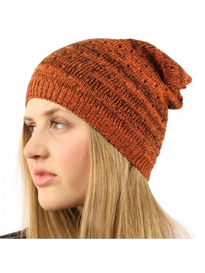 Light Thin Vented Soft Knit Long Beanie Slouchy Slouch Skull Hat Cap -  Orange - C211CQKQ7C9 - Hats   Caps 5c6c7691b