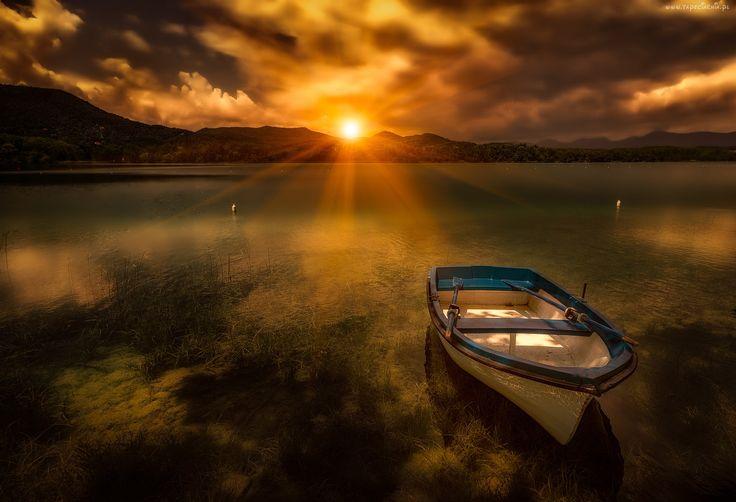 Łódka, Jezioro, Chmury, Zachód Słońca