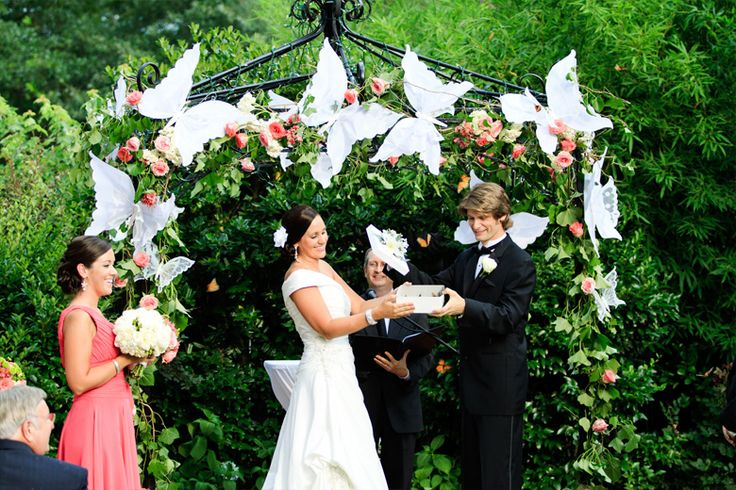 The butterfly release... Outdoor wedding ceremony