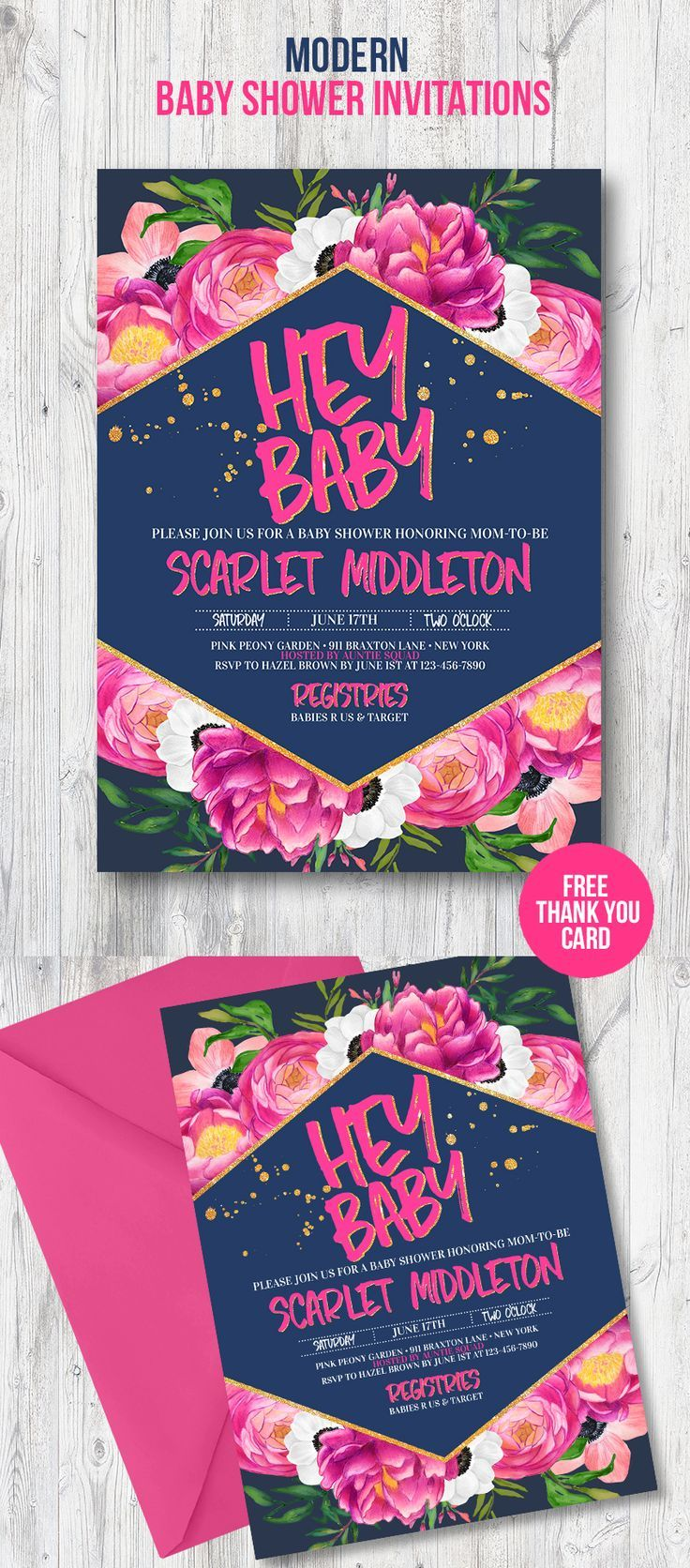 Modern baby shower invitation for your trendy party theme with pink peonies and anemones with gold glitter details. Perfect baby shower card to invite your guests to most amazing spring or summer party of the year to celebrate and shower the mom-to-be.