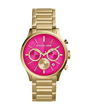 +Mid-Size+Golden/Pink+Stainless+Steel+Bailey+Chronograph+Watch+by+Michael+Kors+at+Neiman+Marcus.